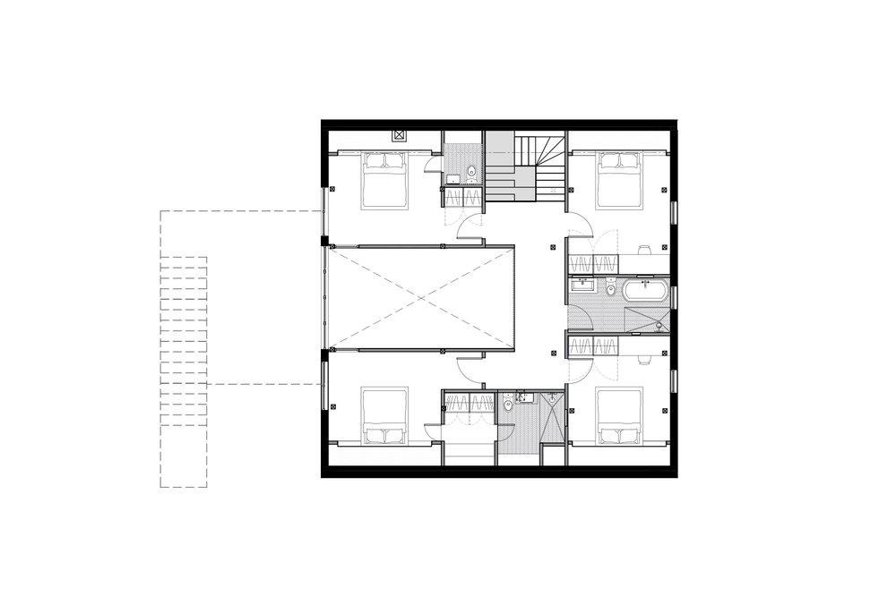 Plan d'aménagement de l'étage d'un chalet