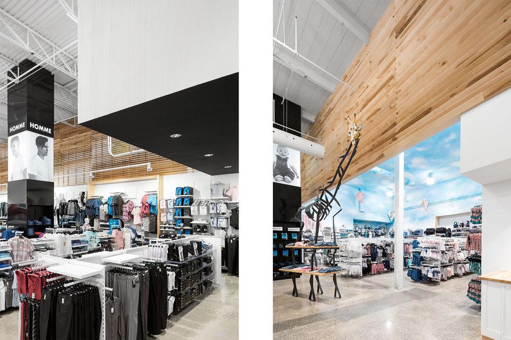 Boutique de vêtement avec plancher de béton poli. Colonne signalétique pleine hauteur noir. Mur de lattes des bois. Plafond de la zone bébé effet ciel peint en bleu avec nuage.