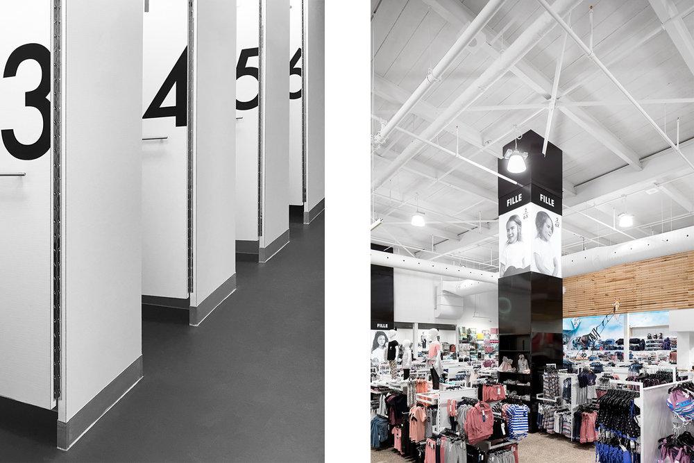 Boutique de vêtement. Colonne signalétique pleine hauteur noir. Mécanique apparente, ventilation blanche. Mur de lattes des bois. Cabine d'essayage blanche avec vinyle noir.