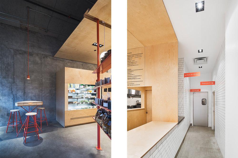 Salle à manger avec plancher, mur et plafond de béton brut. Mobilier en contreplaqué merisier. Couloir de la salle de bain en céramique métro blanche. Signalétique custom sur plaque de métal.