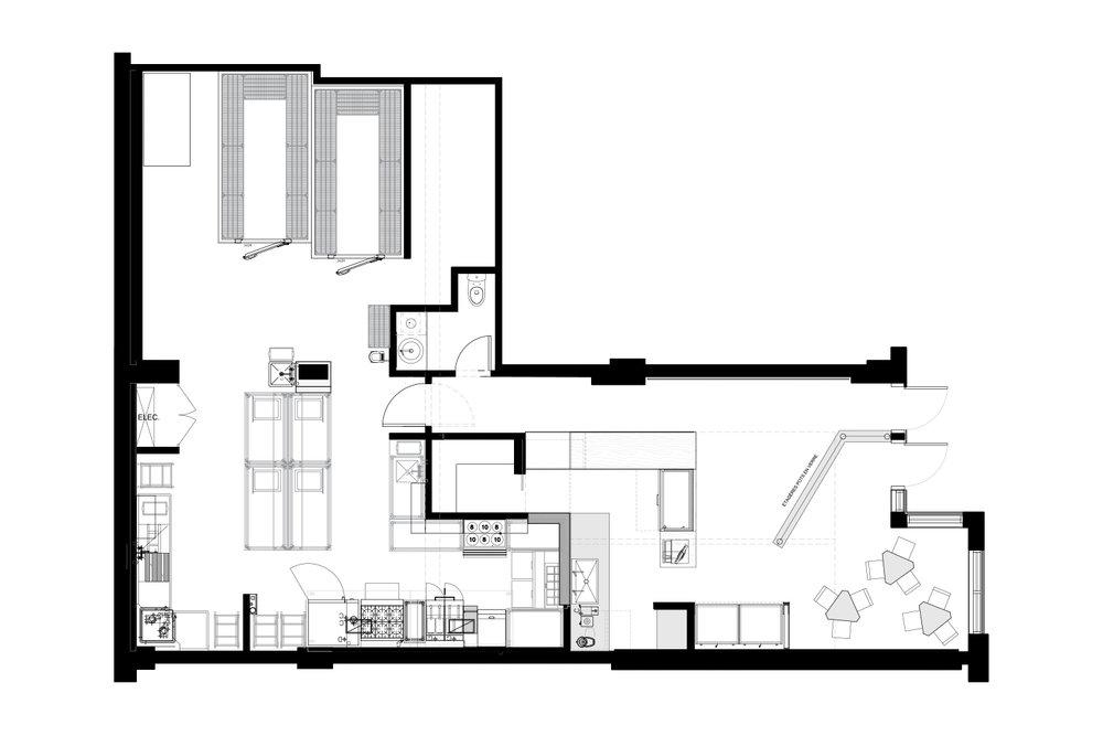 Plan d'aménagement du restaurant Lola Rosa de la rue William à Montréal fait par l'équipe de designers d'intérieur de La Firme.