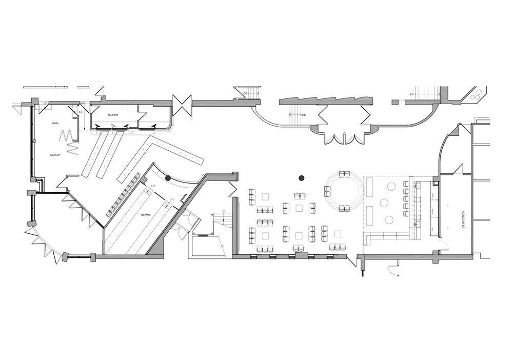 Plan d'aménagement du hall d'entrée d'une salle de spectacle à Laval réalisé par les designers d'intérieur de La Firme