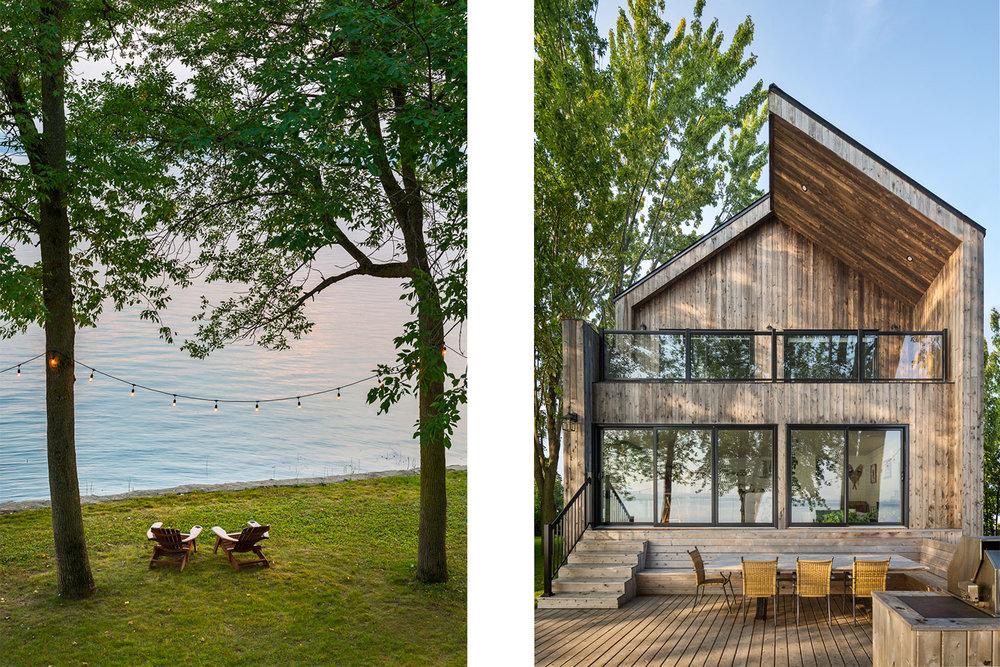 Rénovation de chalet avec superbe vue sur le lac. 2 grandes portes coulissantes vitrées sur la façade arrière du bâtiment. Terrasse en pruches avec banquette sur mesure