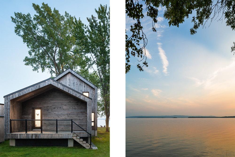 Rénovation d'un chalet dans les Laurentides avec vue sur le lac. Toiture à 2 pentes en projection de la façade créant un porche en bois. Garde-corps en verre
