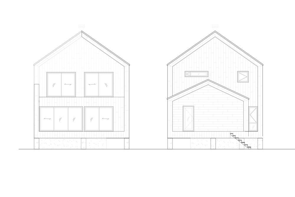 Élévations extérieur des façades d'un chalet sur son en noir et blanc. Dessins réalisés par les designer d'intérieur de La Firme