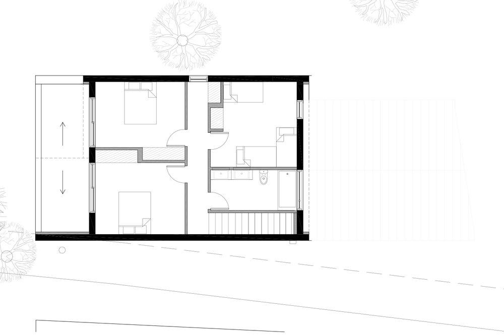 Plan d'aménagement d'un chalet en noir et blanc. Dessins réalisés par les designer d'intérieur de La Firme