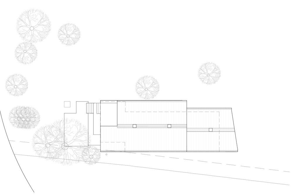Plan technique d'implantation d'un chalet sur son terrain en noir et blanc. Dessins réalisés par les designer d'intérieur de La Firme