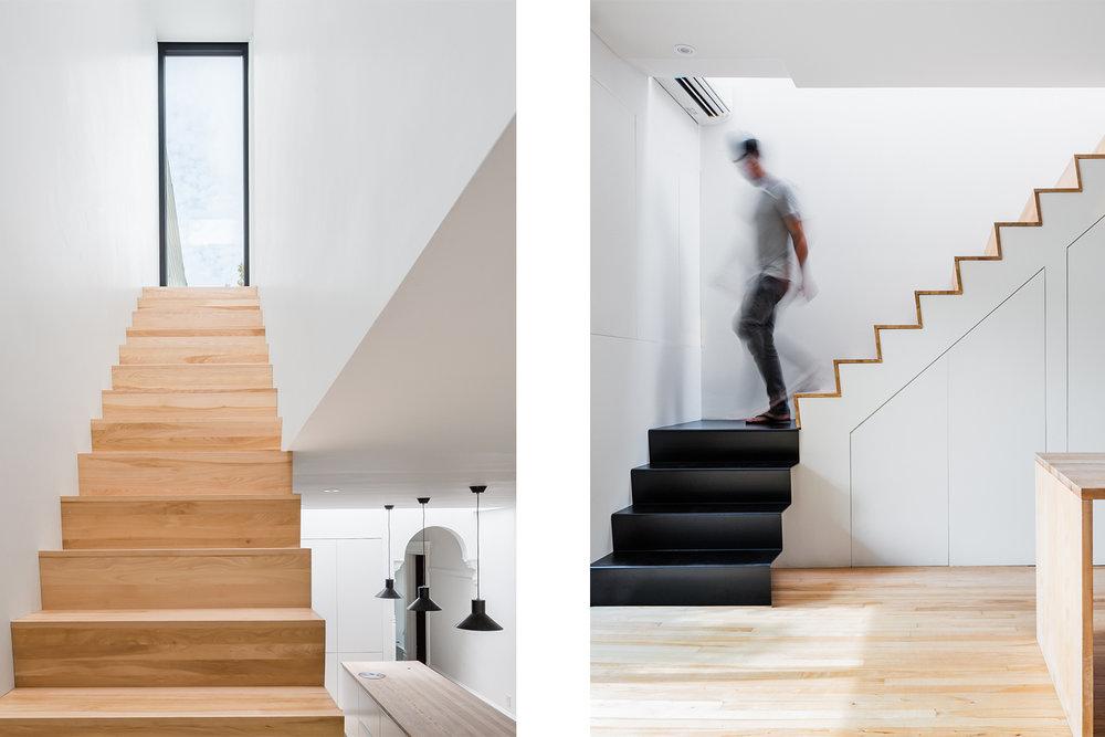 Nouvel escalier, une section avec marches et contremarches en bois : merisier. Et l'autre section de 4 marches fait en pliage métallique noir. Une grande fenêtre alignée avec l'escalier