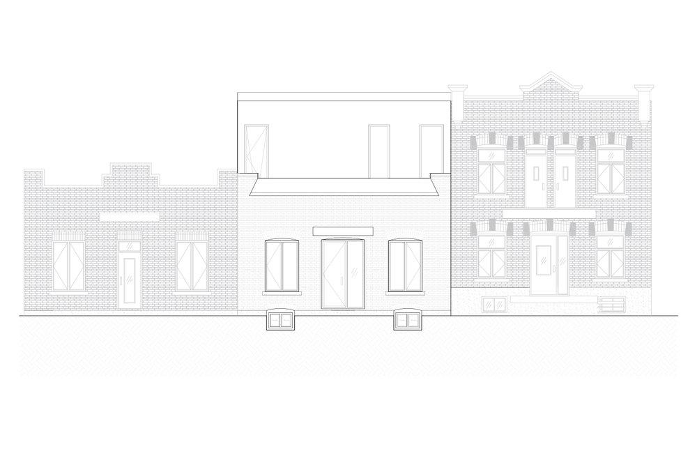 Élévations extérieures de la façade avant d'une maison unifamiliale avec ajout d'une mezzanine. Plan en noir et blanc. Dessins réalisés par les designers d'intérieur de La Firme