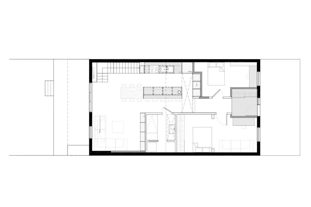 Plan d'aménagement du rdc d'une maison unifamiliale avec ajout d'une mezzanine. Plan en noir et blanc. Dessins réalisés par les designers d'intérieur de La Firme