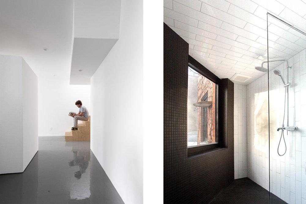 Vue de l'escalier en contreplaqué merisier russe dans un espace minimaliste. Autre vue d'une douche ouverte avec mosaïque noir et céramique métro blanche installée à la verticale