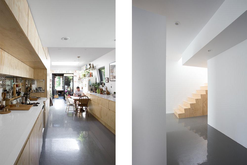 Rénovation de cuisine. Armoires sur mesure en contreplaqué. Ajout d'un puits de lumière. Autre vue du bloc escalier en bois. Plancher d'époxy gris lustré pleine masse