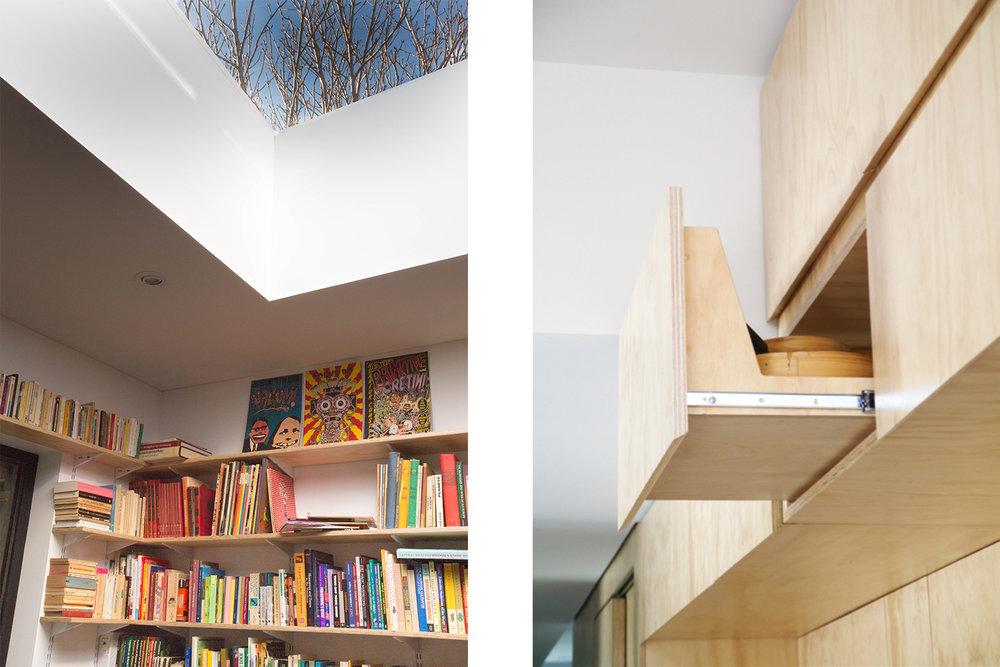 Détail de la bibliothèque faite sur mesure sous le nouveau puits de lumière. Système de crémaillères et tablettes ajustables en contreplaqué. Autre détail de tiroir fait par ébéniste en hauteur.