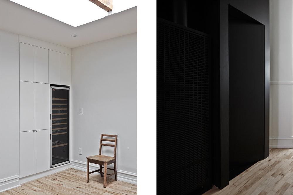 Réaménagement d'un vaisselier typique des appartements montréalais. Ajout d'un cellier et d'armoires blanches. Autre vue, porte noir dissimulée sur mur noir