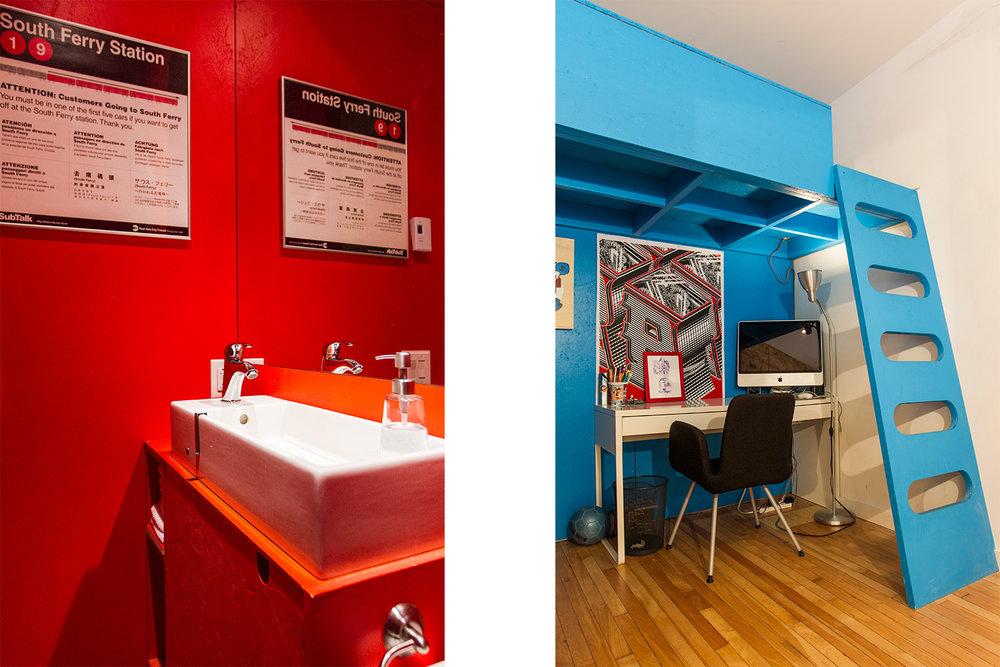 Rénovation d'un appartement sur le plateau. Chambre d'enfant avec lit mezzanine sur mesure peint bleu. Bureau sous le lit. Nouvelle salle d'eau avec couleur accent rouge vif.