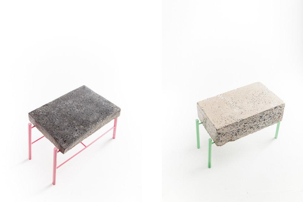 Table basse fait de retaille de béton ou de morceau d'asphalte recyclé. Piétement métallique fait sur mesure, léger et de couleur vive. Pattes faites de tiges de métal hexagonale vert menthe ou rose
