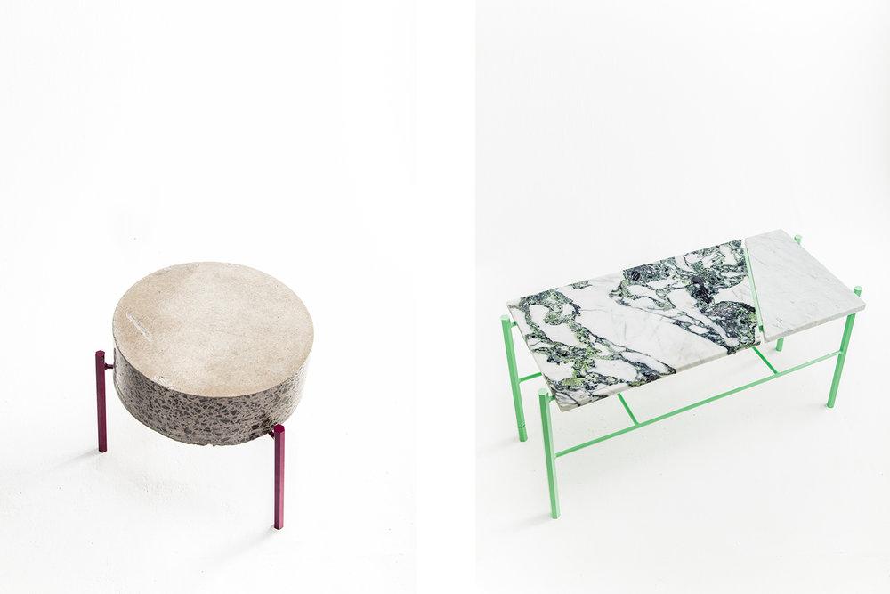 Table basse fait de retaille de béton ou de marbre. Piétement métallique fait sur mesure, léger et de couleur vive. Pattes faites de tiges de métal hexagonale