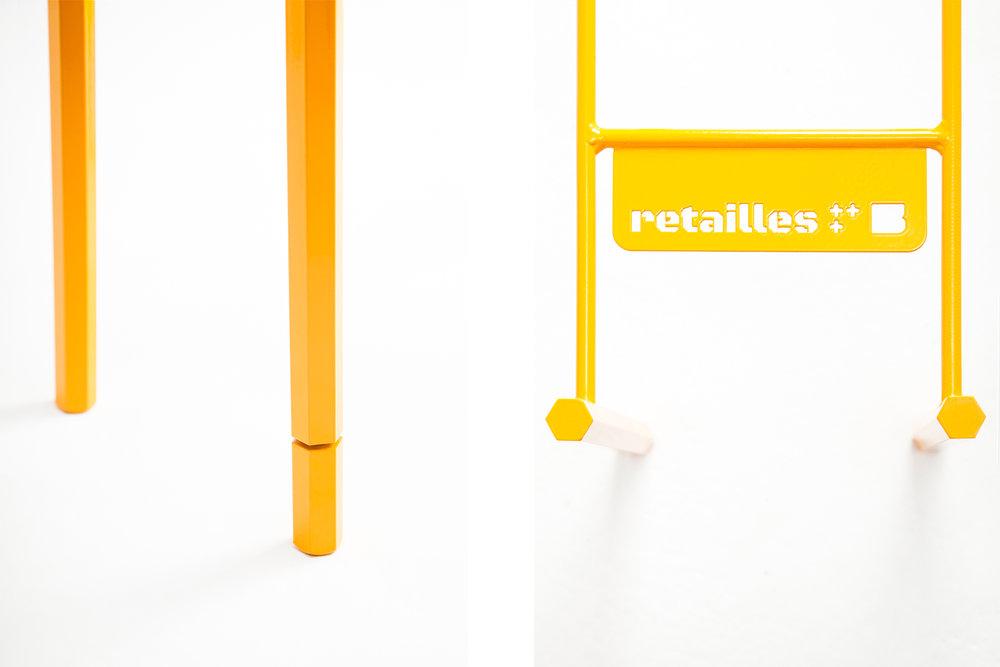 Détail minimaliste du piétement des tables basses Retailles, couleur jaune.