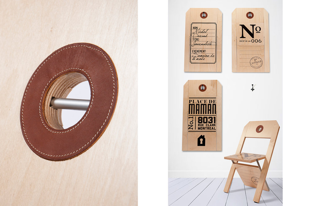 Exemple de personnalisation de mobilier pour événement, et vue de la finition sur une attache en cuir cousu.