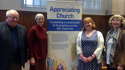 Tim Slack of Appreciating People, Fiona Thomas of the United Reformed Church, Lynne Norman of The Methodist Church and Zélie Gross of the Religious Society of Friends (Quakers) in Britain.