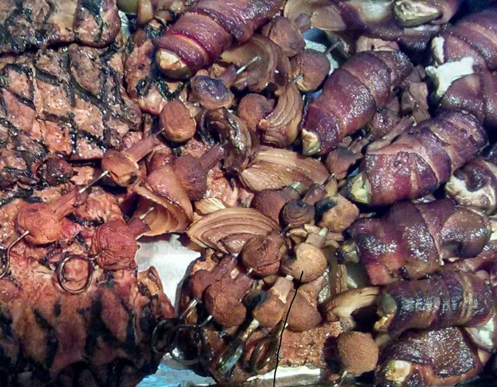 Bacon wrapped, chevre filled jalapenos, mushroom and onion skewers, and chicken breasts- all produced locally or on our ranch. A sample of my lovey's BBQ skills!