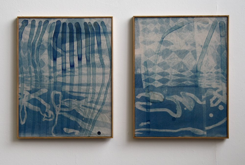 Aimée Parrott,  Untitled 1  and  Untitled 2 , 2015, Cyanotype and watercolour screen-print on calico with artist's frame (oak), 2 x 47 x 37 cm