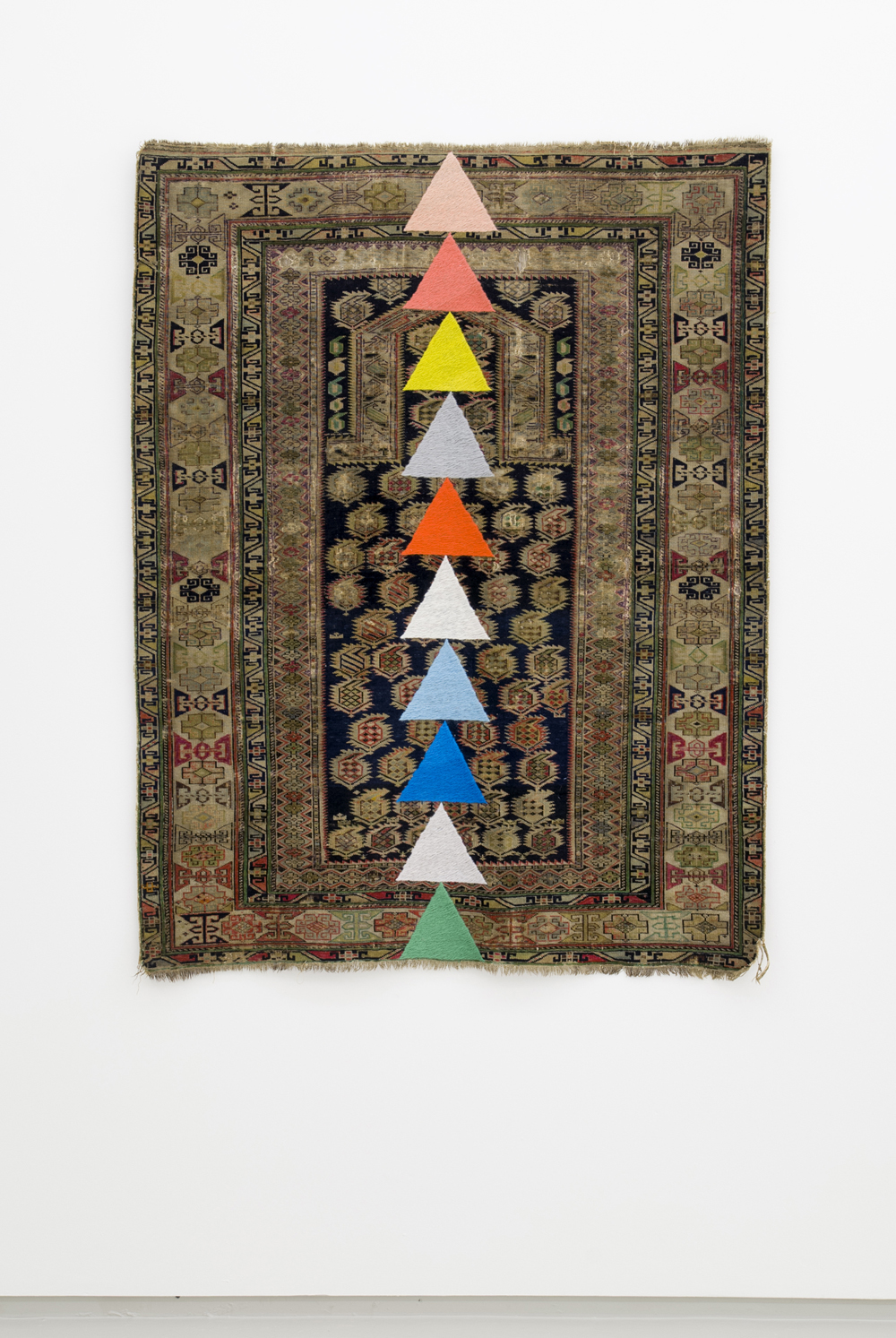 Fiona Curran,  Something Has Been Decided , 2013, Embroidery on carpet with felt tip, 137 x 105 cm