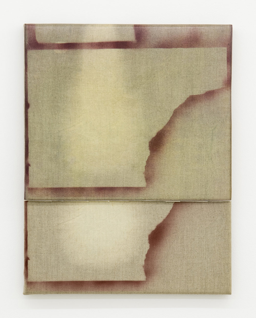 Aimée Parrott,  Overlap (part 1) , 2014, Bleach and ink on linen, 35 x 25 cm