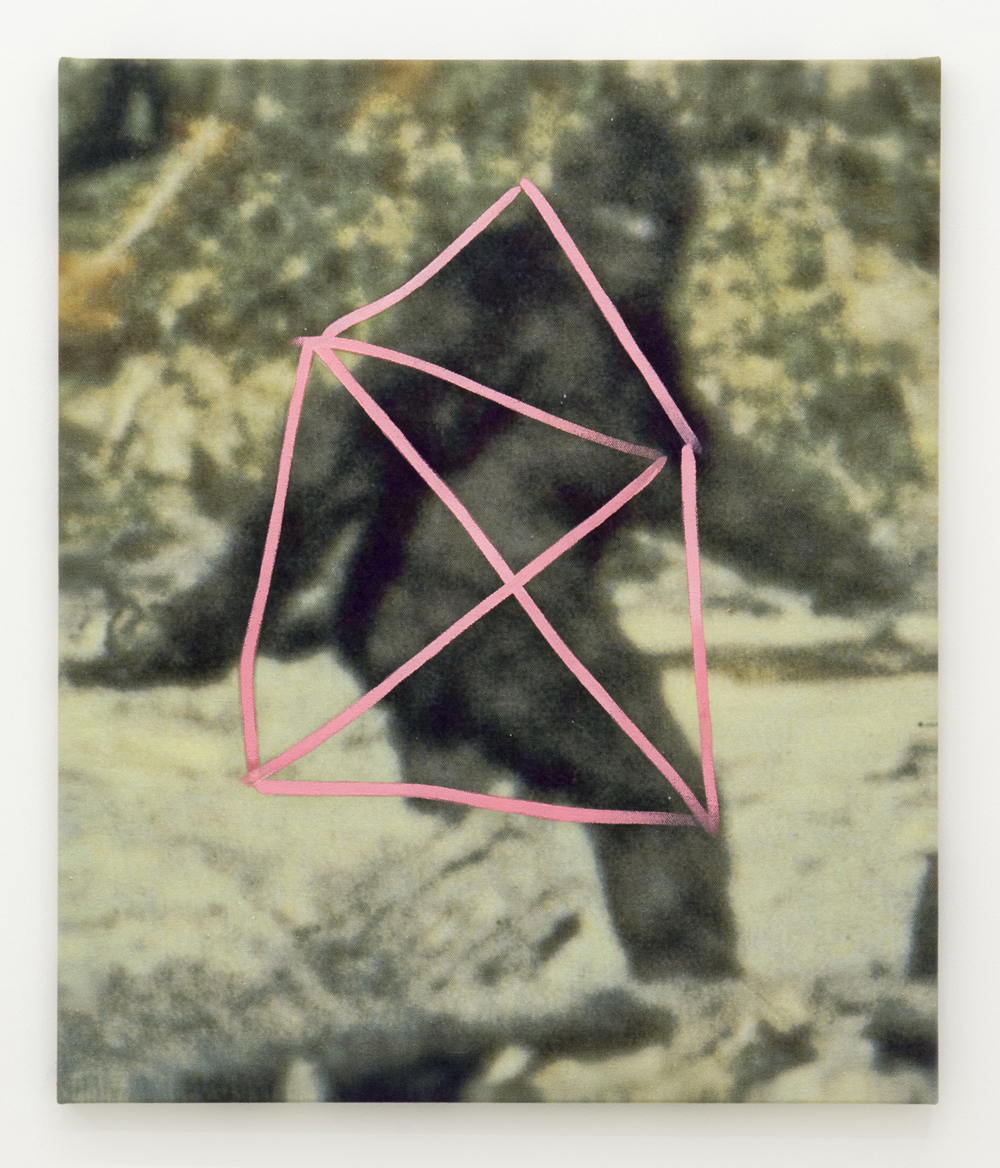 Benjamin Cohen,  Yeti , 2015, Oil over printed image on half panama, 60 x 50 cm