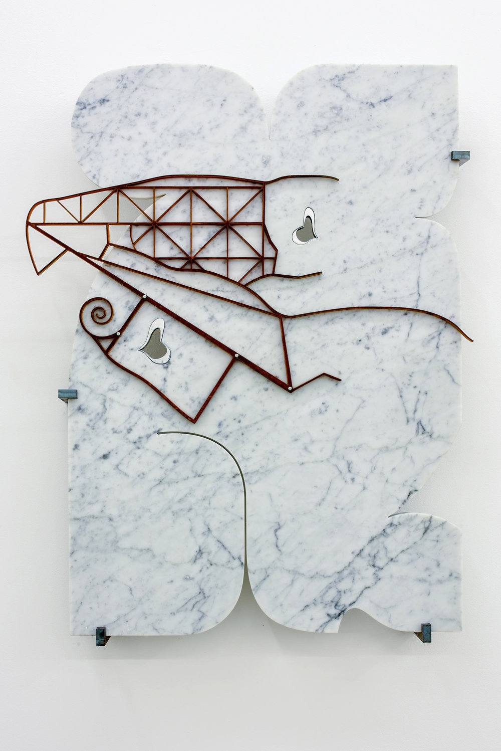 George Henry Longly,  A Trophic Cascade in the making , 2015, Waterjet cut marble, waterjet cut steel, steel brackets, 80 x 55 x 10 cm, courtesy the artist and Koppe Astner, Glasgow