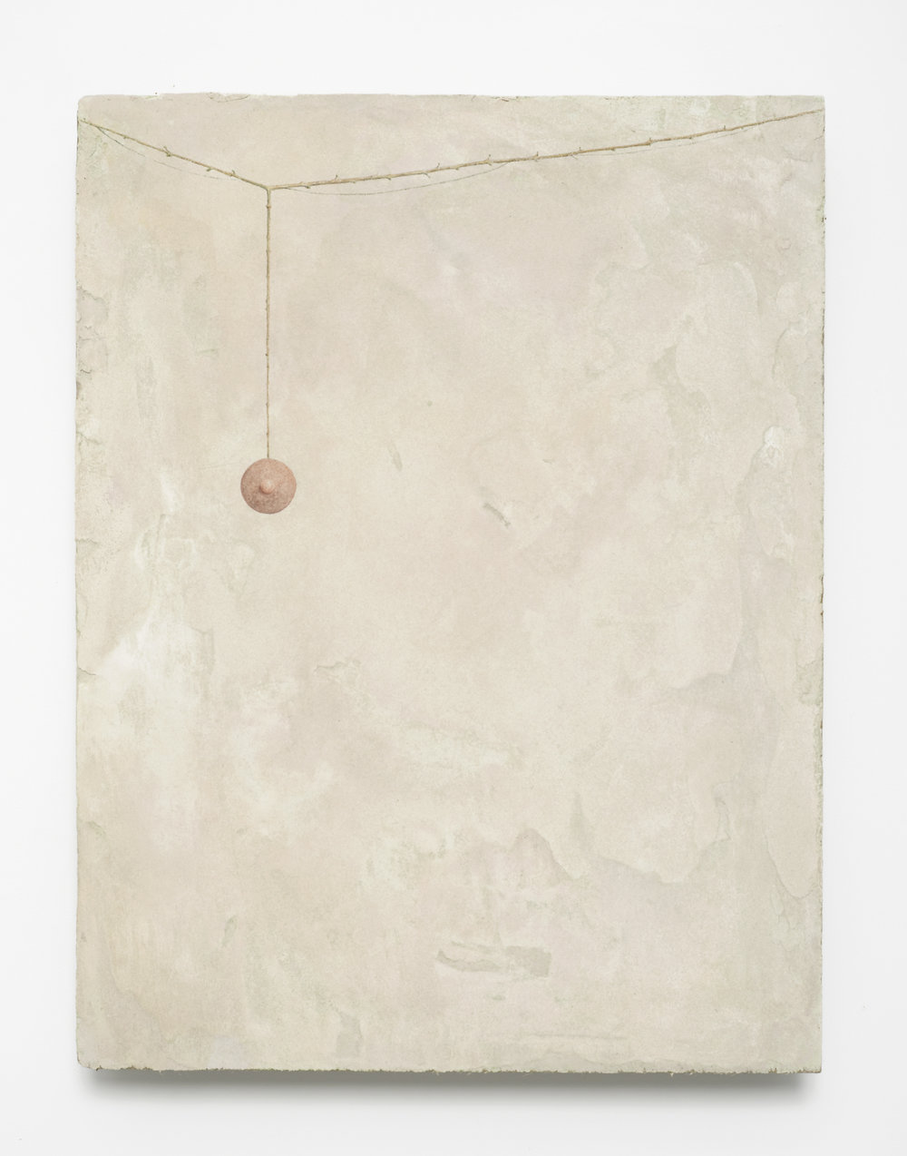 David Thorpe,  A Ripening , 2012, Oak, sand, clay, hair, dung, slake lime, pigment, rabbit skin glue, 56.5 x 43 x 7 cm, Courtesy the artist and Maureen Paley, London