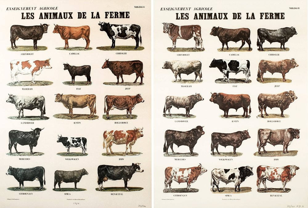 Marcel Broodthaers,  Les animaux de la ferme , 1974, Two sheets in offset colour print Schoeller-Parole paper, Edition of 20, 82 x 60.3cm