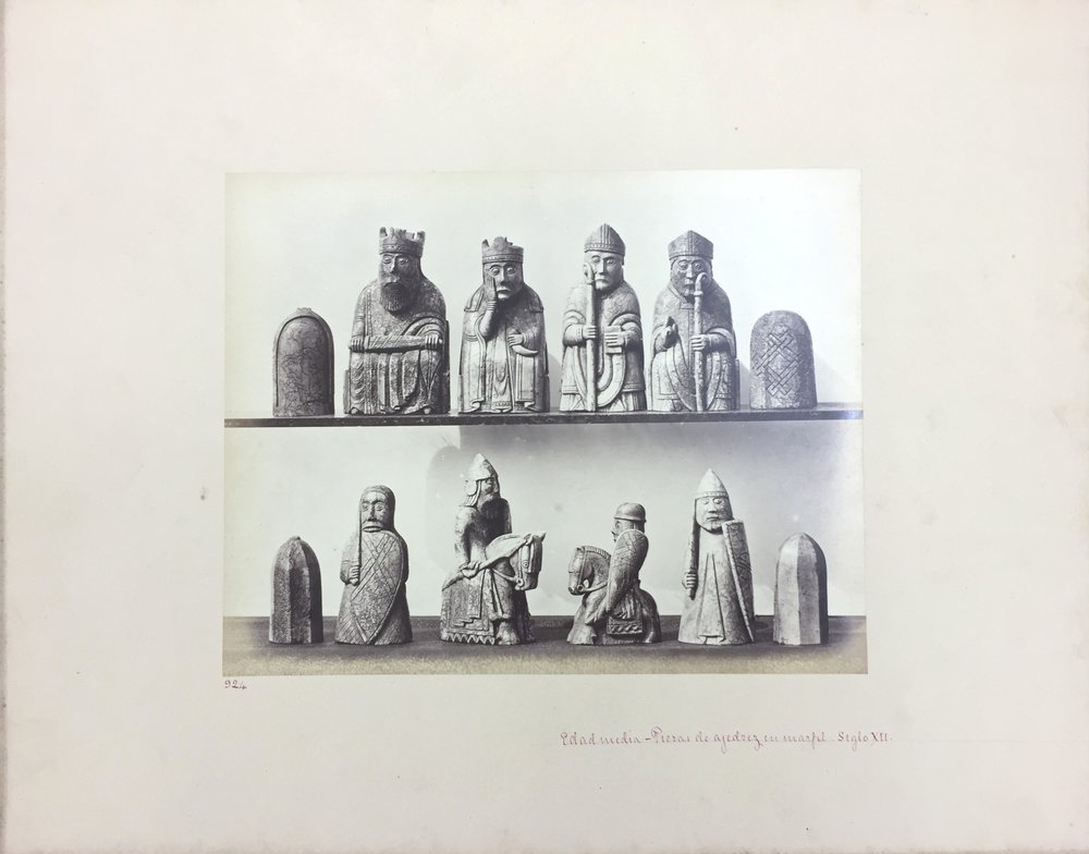 Medieval Lewis Chess Pieces, No. 924, A.D. 1150, Antiquities of Britain, British Museum , 1872, Photographed by Stephen Thompson, Vintage albumen print, Photograph: 20.5 x 21 cm, Mount board: 35.5 x 45.5 cm