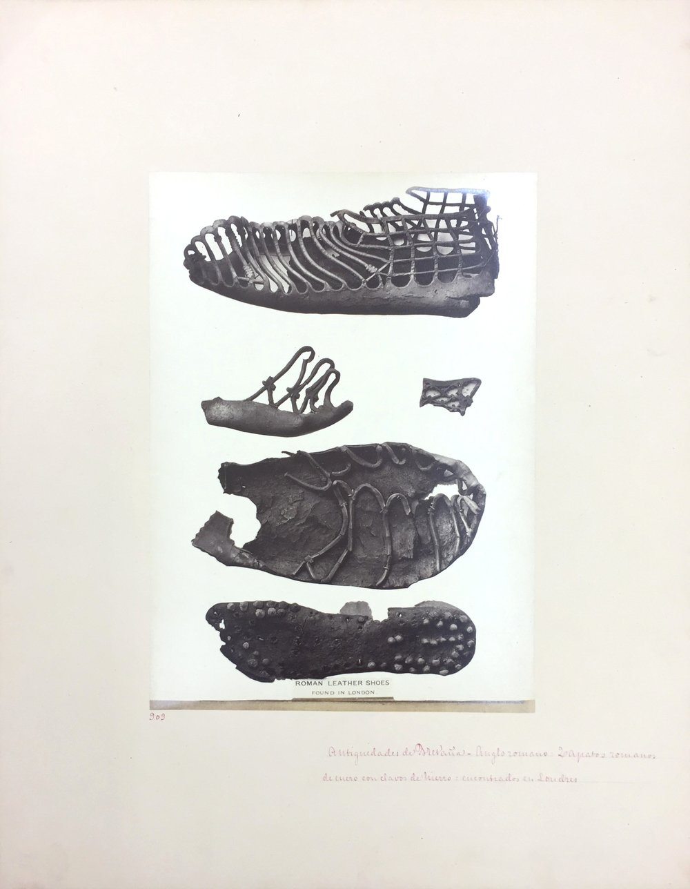 Anglo-Roman Leather Shoes, No. 909, Antiquities of Britain, British Museum , 1872, Photographed by Stephen Thompson, Vintage albumen print, Photograph: 20 x 27.5 cm, Mount board: 35.5 x 45.5 cm