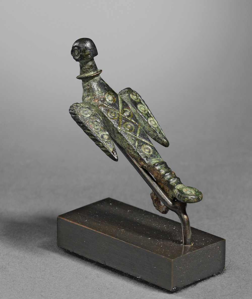 Gallo-Roman Fibula in the Form of a Flying Bird , 2nd - 3rd century C.E., Bronze, Length 4 cm, Courtesy Rupert Wace Ancient Art, London