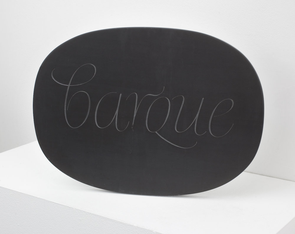 Ian Hamilton Finlay,  Barque , c.1987, Slate chiselled, 28 x 38.5 x 9.5 cm