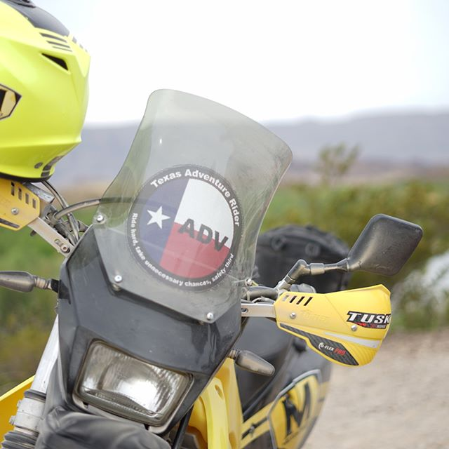 SWIPE: One of our favorite annual rides is the Around the Bend rally in Big Bend National Park. This event has a long history and we are happy to join in on the fun. This year we did see through decals for bike windshields and normal stickers for each participating rider. Some even put it on their trucks! Looks cool! Thank you @adv_zach for the photos!