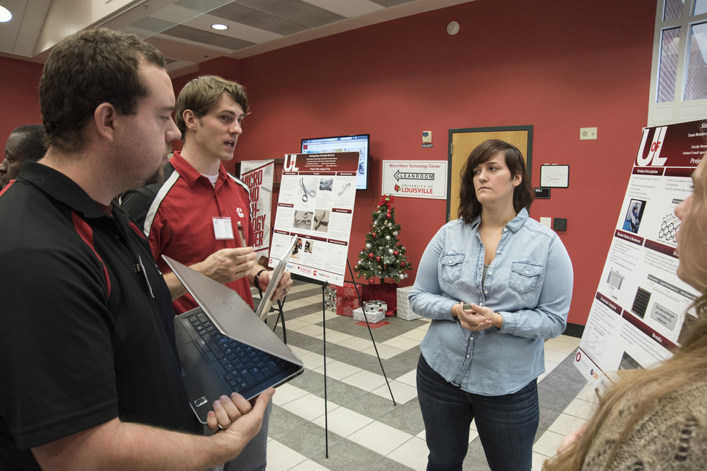 Students present their 3-D printed prototypes at a venture day event at the University of Louisville. (Photo: University of Louisville, all rights reserved.)