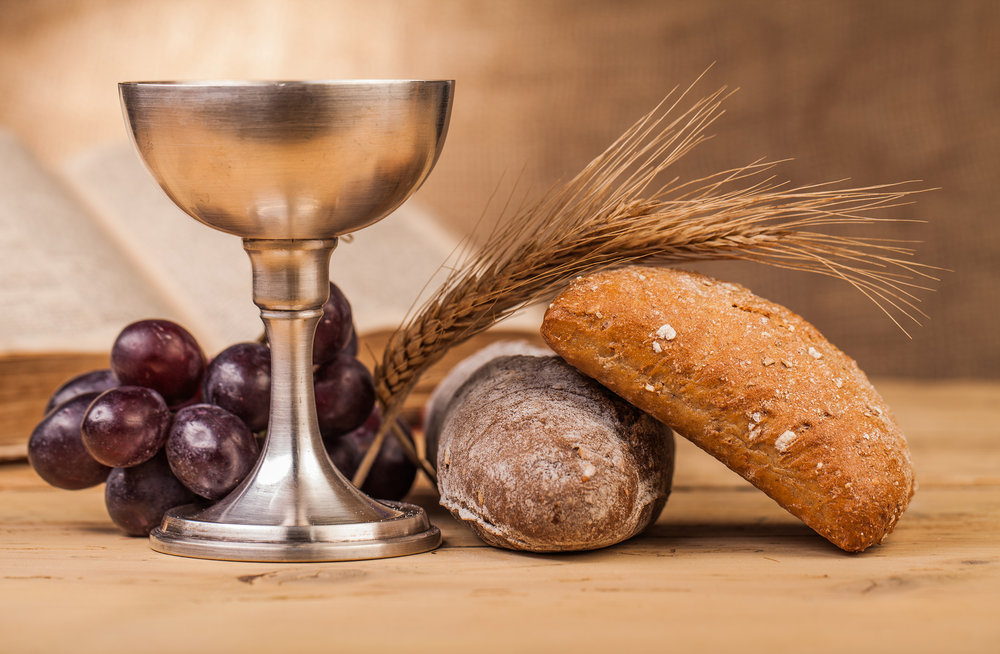 Bread, wine, and chalice for sacrament of communion at Bethel Worship Service