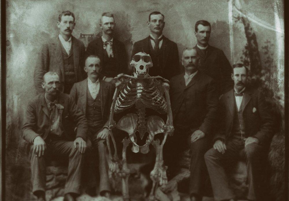 Gentlemen with gorilla skeleton