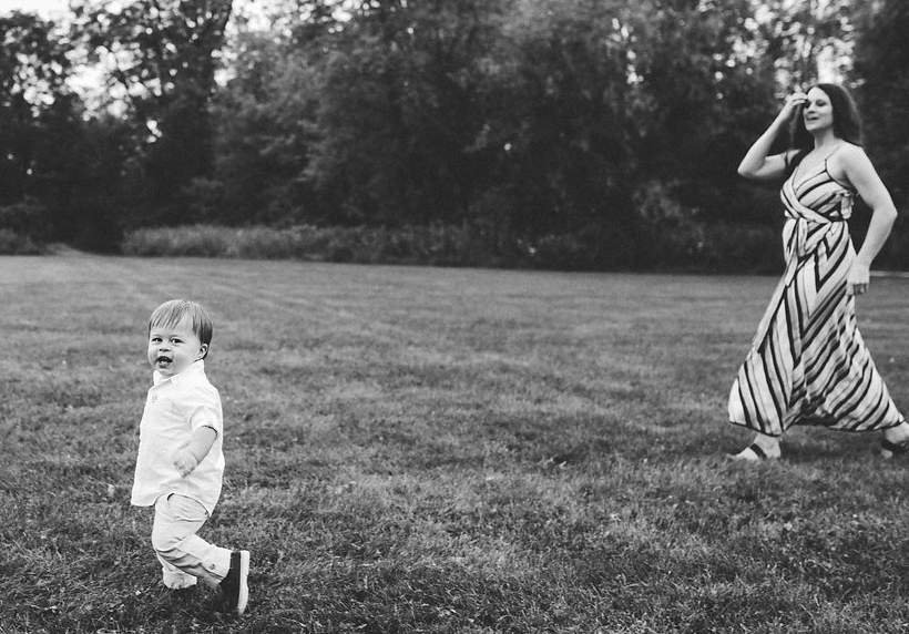 mom chasing toddler - Metro Detroit lifestyle candid photography