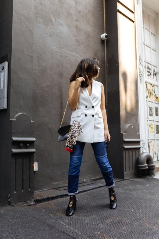TRVL PORTER:  Joes Jeans   ACCENTED:  White Vest + Purse + Neckerchief + Boots