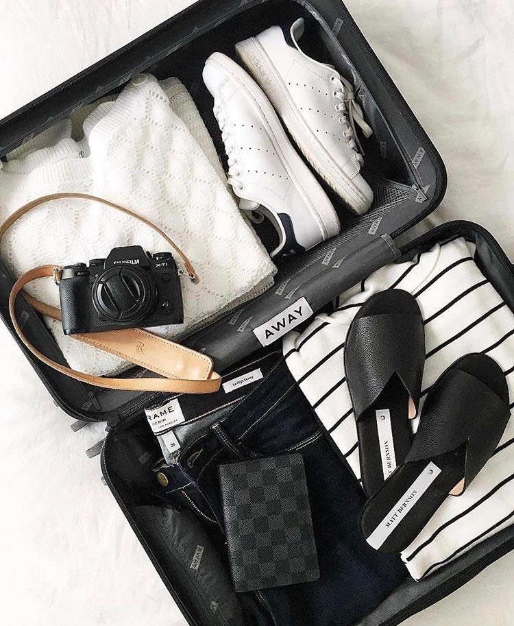 4. Your Suitcase   Pack only your essentials: favorite makeup, skincare, undergarments, sleepwear, shoes and staple items in a tote, backpack or carry-on.