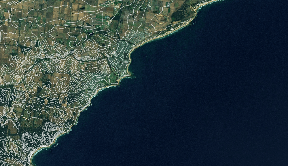 Victoria's coastline.  A map generated using data from a web map server.