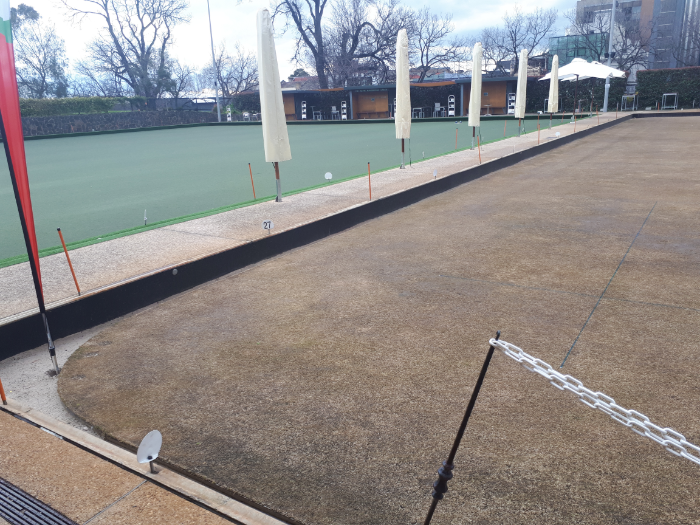 Synthetic and natural warm-weather turf at CoM Bowls Club