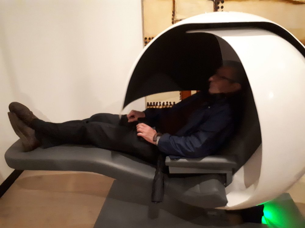Robert testing out the sleeping pod