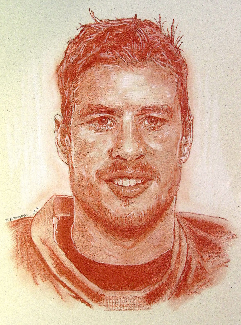 "Sidney Crosby, Team Captain.   Red sanguine chalk with white highlights, 12"" x 16"""