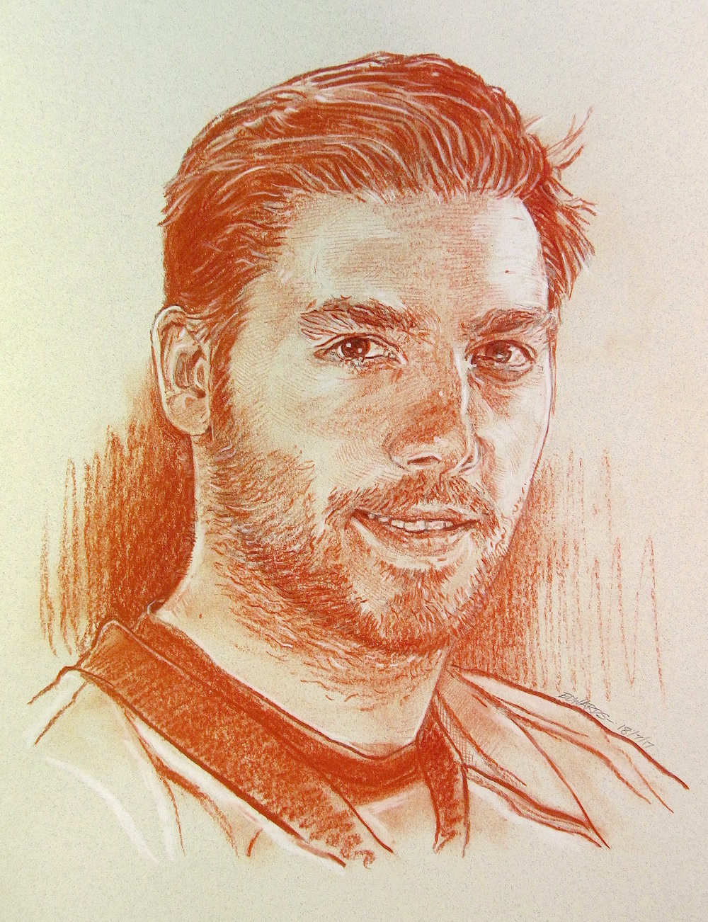 "Kris Letang, Defenseman.   Red sanguine chalk with white highlights, 12"" x 16"""