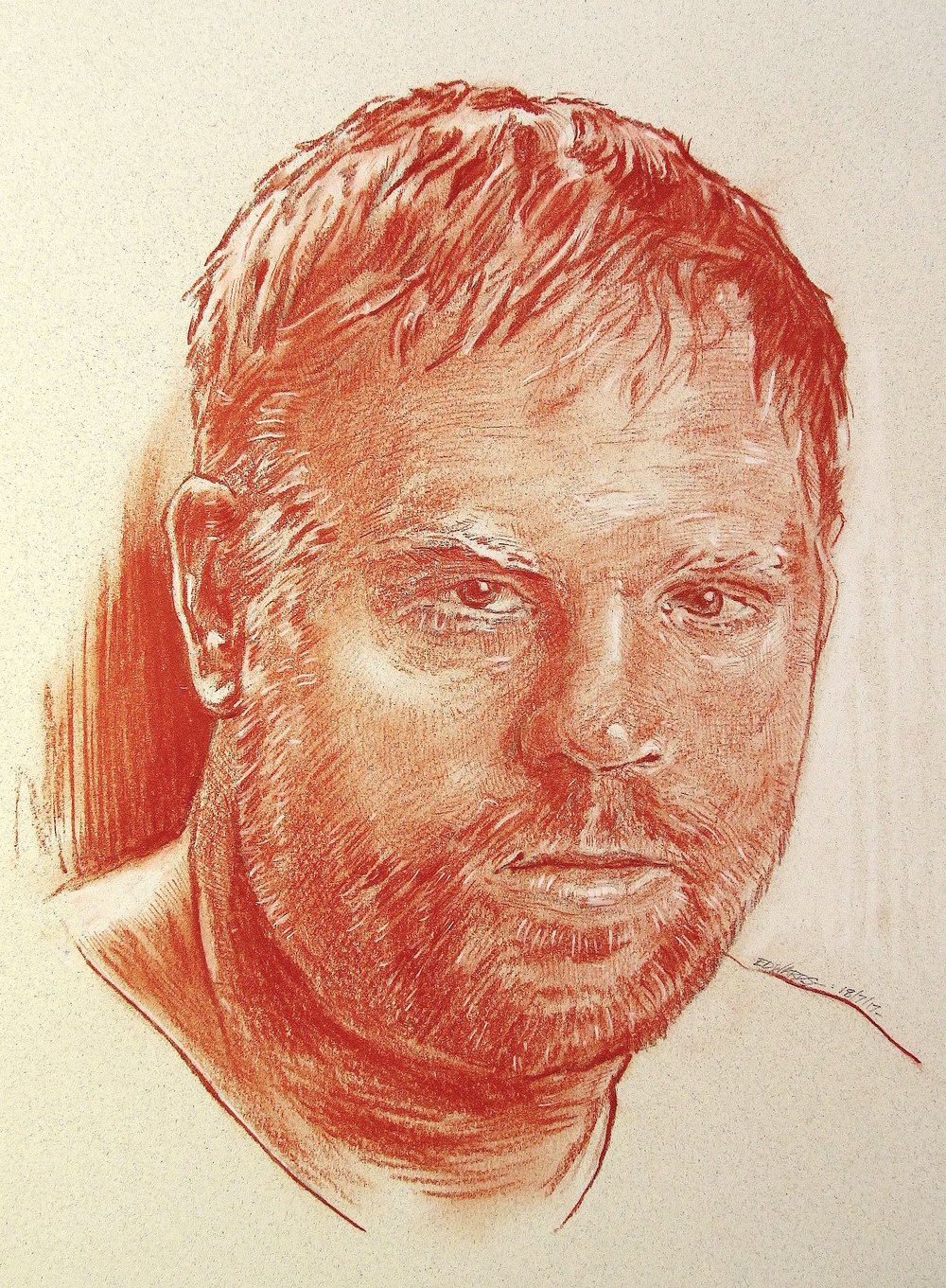 "Phil Kessel, Forward.     Red sanguine chalk with white highlights, 12"" x 16"""