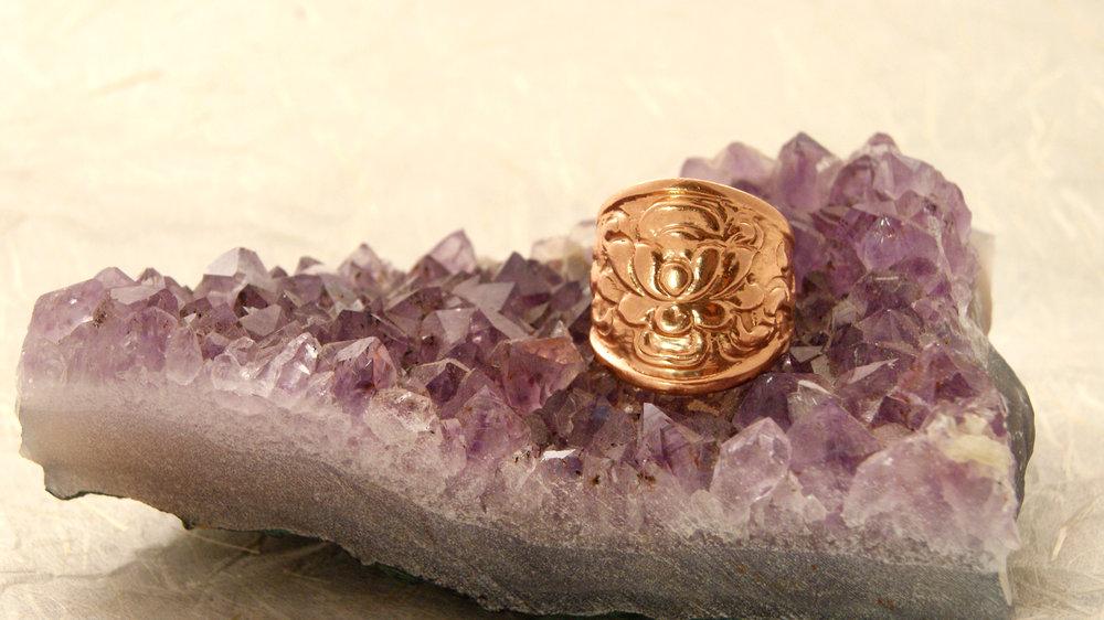 14K Rose gold lotus ring
